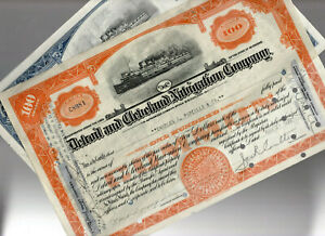 Detroit & Cleveland Navigation Company Stock Bond Lot of 2 Used, Fully Paid