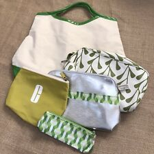 Clinique Lot 5 Travel Green Glasses Cosmetic Bag Make-Up Pouch Set Cute