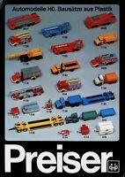 Preiser Prospekt 80er Jahre Automodelle H0 Modellautoprospekt Modellautos esite