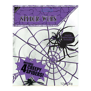 SPIDER WEB AND 4 SPIDERS DECORATION HALLOWEEN COBWEB PARTY ACCESSORIES SCARY