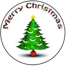 "Christmas Cake Topper Christmas Tree - Precut Round 8"" (20cm) Icing Decoration"