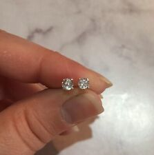 Sparkling genuine natural White Sapphire 4mm sterling silver stud earrings ✨
