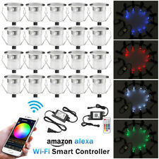 20X Smart Wifi 30mm 12V RGB Yard LED Deck Rail Kitchen Step Lights Waterproof