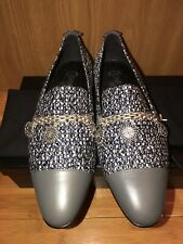 NIB CHANEL TWEED SILVER CHARMS COINS CHAIN GRAY LEATHER CAP TOE LOAFERS 39.5