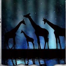 Troupeau D' Girafe's La Nuit Silhouette Salle de bain Rideau Douche Polyester