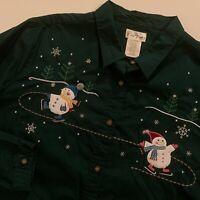 Bobbie Brooks 2X Top Green Snowmen Christmas Long Sleeve Cotton Womens Plus 2X