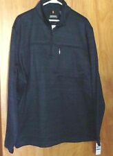 Mens VAN HEUSEN Traveler 1/4 Zip Sweater Fleece XL Navy Blue Black Classic Fit