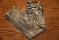NWT MENS ROBIN'S JEAN Multiple Sizes Long Flap Straight Leg Distressed Gold $389
