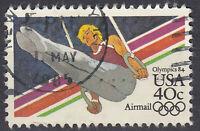 USA Briefmarke gestempelt 40c Airmal Olympics 84 Turnen Sport Rundstempel / 1150