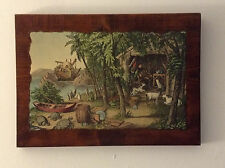 "VTG Decoupage Wood Picture Robinson Crusoe and his Pets  - 15.5"" x 11"""