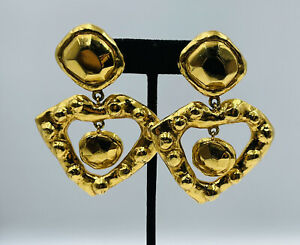 Christian Lacroix France Gold Plated Large Runway Heart Dangle Earrings