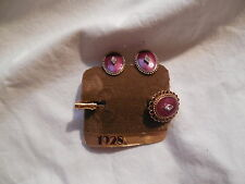 1928 jewelry co red enemel clip earrings w/stick pin rhinesteon accents new