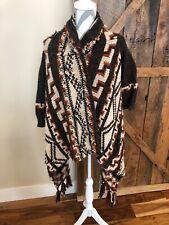 ABERCROMBIE Womens Sweater Coat Long Cardigan Aztec Print Shawl Open Front S/XS