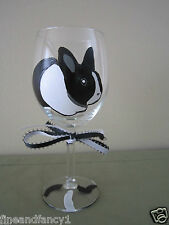 Hand Painted Wine Glass Dutch Rabbit    Black and White   12 oz Wine Glass