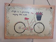 Vintage Style Pink Plaque 'LIFE IS A JOURNEY ENJOY THE RIDE' 15 X 22cm