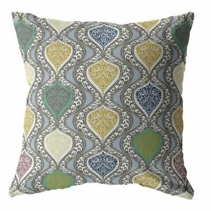 Flower Prism Double Sided Suede Pillow, Zippered, Gold and Green on Gray