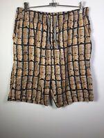 Peter Alexander Multicoloured Men's Tiki Mask Pyjama Sleep Shorts Size XL Cotton