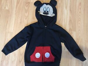 Disney Mickey Mouse Mesh Face Jacket Fleece Zip Hoodie Toddler Boy Size 3T