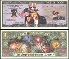 Independence Day Uncle Sam Million Dollar Funny Money Novelty Note + FREE SLEEVE
