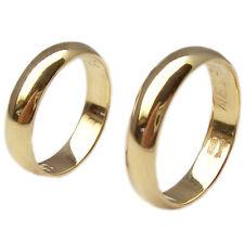Fedi nuziali anelli per matrimonio in oro giallo 18 kt. coppia 2 pezzi