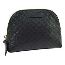 GUCCI GG Pattern Cosmetic Hand Bag Pouch Purse Black Leather Authentic AK44301