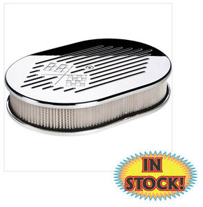 Billet Specialties 15327 - Checkered Flag Oval Air Cleaner - Small Polished
