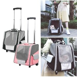 Pet Bag Trolley Case Multi-function Cat Rolling Carrier Dog Backpack with Wheels