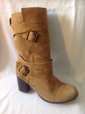 Faith Brown Mid Calf Suede Boots Size 6