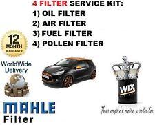 FOR CITROEN DS3 1.4 VTi 95BHP 2009--> OIL AIR POLLEN FUEL FILTER ( 4 ) KIT