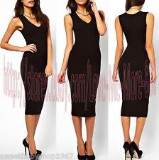 Celebrity Party Club Wear to Work Plunge V Slim Fit Bodycon Midi Dress Black 2XL