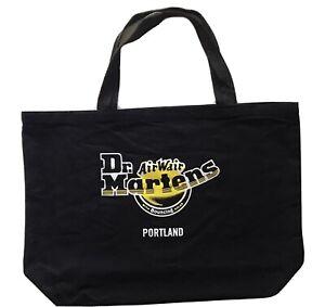 Doc Dr Martens Portland Black Shopping Tote Bag Air Wair Cotton Canvas