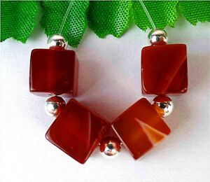 4Pcs 8x8x8mm Red Agate Heigth Hole Cube Bead BV13997