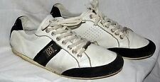 white pre owned  DOLCE & GABBANA LEATHER SNEAKERS 44 10 10.5  US