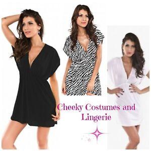 Beach Top Tunic Dress Cover Up Size 8-12 White, Black, Zebra