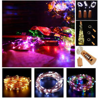 20 LED 2M Copper Cork Shaped String Light Wine Bottle Wire Strip Fairy Lamp Xmas