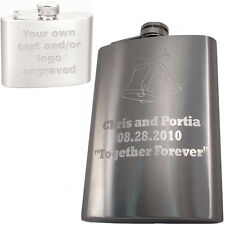 8oz Custom Engraved Hip Flask - Your Text / Logo - Great Gift - Stainless Steel