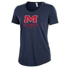 Under Armour NCAA Women's Short Sleeve Charged Cotton Ole Miss Rebels Blue XL