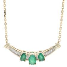 "Yellow Gold Emerald & Diamond Necklace 19"" - 10k Oval Cut 1.05ctw"
