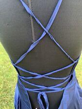 Showpo Blue Satin Open Back Sexy Disco 70s Dress Sz 10