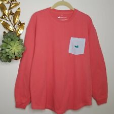 Southern Marsh Pocket Long Sleeve Pink Coral T-Shirt Seer Sucker Lettering Small