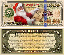 Santa Claus Christmas Million Dollar Bill Funny Money Gospel Tract Novelty Note