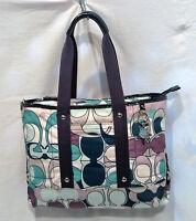 Coach F17178 Kyra Multicolor Scarf Print Blue Tote Convertible Bag