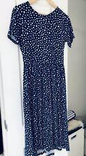 Asos Wednesdays Girl Dress Midi Pleat Small 8-10 Blue White Polka Dot