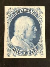 Beauty! US Stamp Scott #40P4 5c Blue Franklin Reprints of 1857-60 Issue