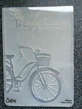 SIZZIX LARGE A2 EMBOSSING FOLDER PURSUIT OF HAPPINESS BICYCLE CYCLE FREE P&P