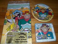 3pc Lot 1993 Unique Wild West COWboys Moo Mesa Birthday Party Goods Multi-color