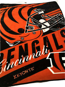 "Northwest Cincinnati Bengals ""Stacked"" Fleece Throw Blanket 58.5X45.5 Preowned"
