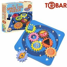 SPACE Wooden Motor Activity Moving Cog Gears Colourful Shape Stacking Puzzle Toy