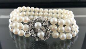 "14k Gold Diamond Clasp 7 mm Akoya Pearl Triple Strand Bracelet 8.5"""