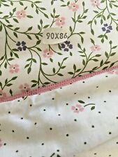 Vtg Laura Ashley QueenDuvet CoverHarebell SprigCastleberryTulip/Pink/Green/White